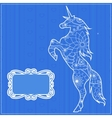 Blue backdrop with unicorn vector image vector image
