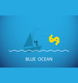 businessman fishing dollar symbol in blue ocean vector image vector image