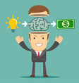 businessman get idea to make money vector image vector image