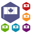 canada flag with flagpole icons set hexagon vector image