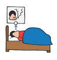 cartoon man sleeping and smoking cigarette in his vector image vector image