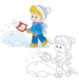Child with a snow shovel vector image vector image
