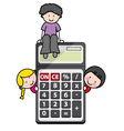 Children with a calculator vector image vector image