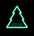 christmas tree neon icon 2018 new year sign vector image vector image