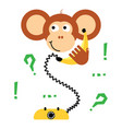 cute cartoon monkey calling banana phone vector image vector image