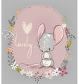 cute little mouse with flowers vector image vector image