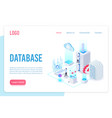 database landing page isometric template vector image vector image