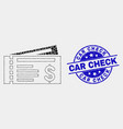 dotted dollar cheques icon and distress car vector image vector image