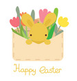 envelope with easter eggflowers and rabbit vector image vector image