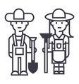 farmerswoman and man with tools line icon vector image