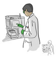 female chemist using computer in laboratory vector image
