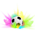football with a ball in colored smoke vector image