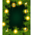 Frame of fir branches and lights vector image