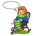 funny knitter women inthe chair vector image vector image