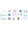 graphic set charts infographics and diagrams vector image