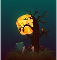 Halloween party poster with witch and moon vector image vector image