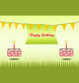 happy birthday poster card theme green and cake vector image