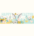 Happy easter banner with cute of