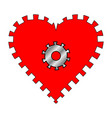 heart with gear vector image vector image