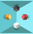 isometric cubes chaos concept vector image vector image