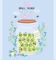 jar of apple jam with cute kawaii berries vector image
