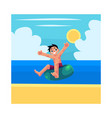 kid boy child riding swim ring enjoying summer vector image