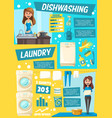 laundry and dish washing home service vector image vector image