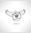 mail icon e-mail symbol with flying post dove vector image vector image