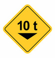 maximum weight traffic sign vector image vector image