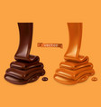 melted chocolate and pouring caramel sauce 3d vector image vector image