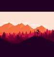 mountain bike rider in wild mountain nature vector image vector image