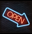 neon sign arrow vector image vector image