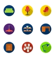 Office furniture and interior set icons in flat vector image vector image