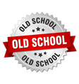 old school round isolated silver badge vector image vector image