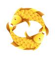 pisces zodiac sign golden horoscope symbol vector image vector image