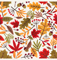 seamless pattern with autumn leaves and berries vector image vector image
