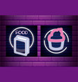 set bag paper for food and cupcake neon light vector image