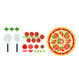 sliced margarita pizza with tools and tomatoes vector image