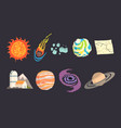solar system objects set colorful collection of vector image