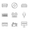 sound studio icon set outline style vector image vector image
