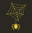 spider and torn web scary spiderweb of halloween vector image vector image