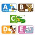 stickers alphabet animals from A to E vector image vector image