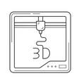 three d printer app line icon vector image vector image