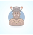 Traditional african man papuan wildman icon vector image vector image