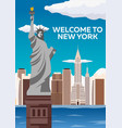 travel to usa new york poster skyline welcome to vector image