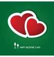 Two red hearts on dark green background Valentines vector image
