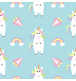 unicorn standing kawaii head face rainbow diamond vector image