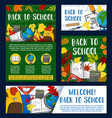 welcome back to school greeting banner design vector image vector image