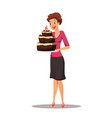 woman with birthday chocolate cake vector image vector image