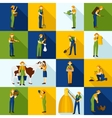 Working Farmers And Gardeners Color Icons vector image